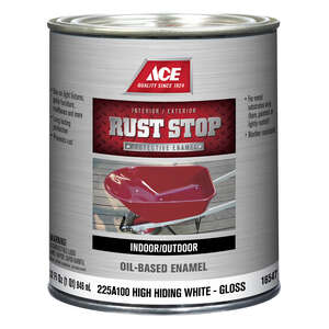 Ace  Rust Stop  Interior/Exterior  Gloss  Indoor and Outdoor  Rust Prevention Paint  White  1 qt.