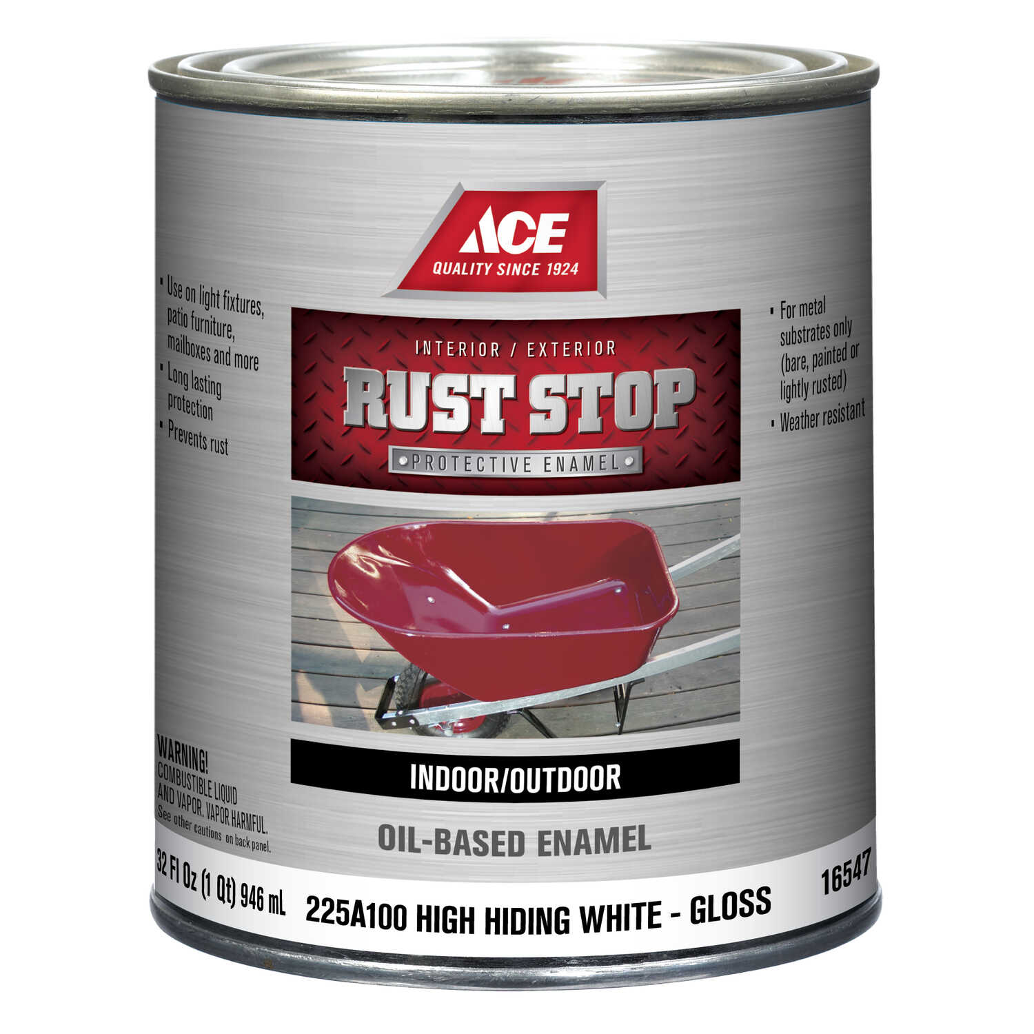 Ace  Rust Stop  Interior/Exterior  Gloss  White  Indoor and Outdoor  Rust Prevention Paint  1 qt.