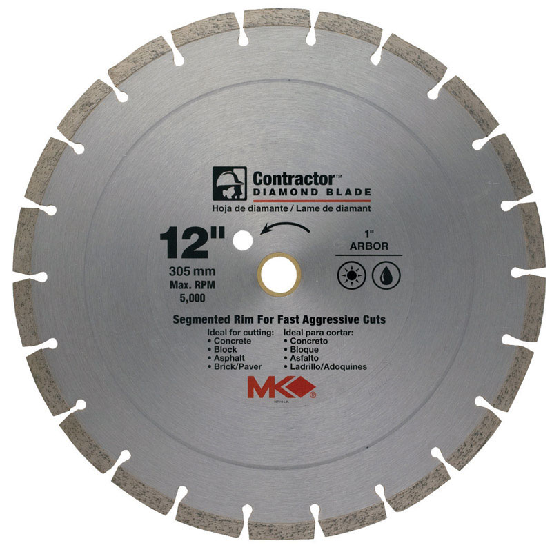 M.K. Diamond  12  Contractor  Segmented Rim Circular Saw Blade  1  1 pk Diamond