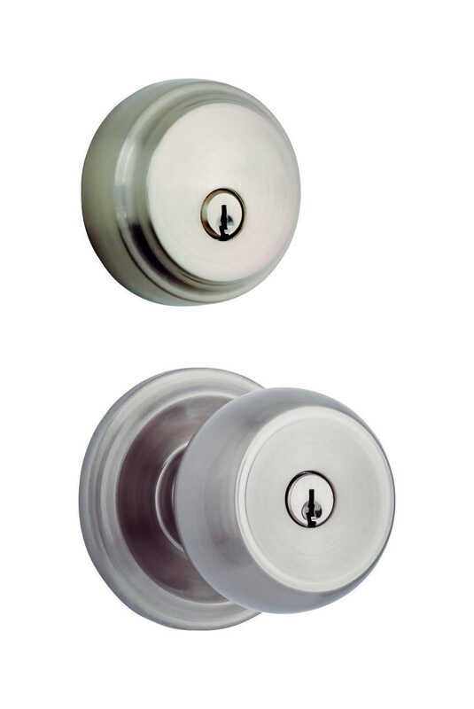 Brinks  Stafford  Satin Nickel  For All Home Doors ANSI Grade 2  KW1  Entry Knob and Single Cylinder
