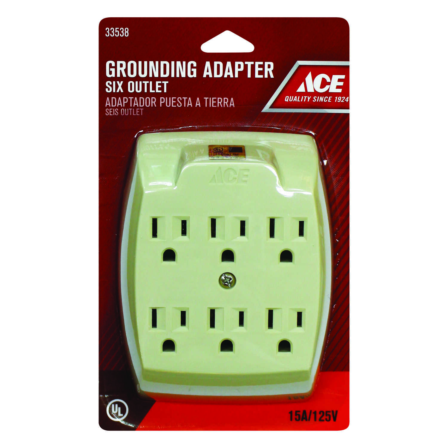 Ace  Grounded  6 outlets 6-Outlet Adapter  1 pk