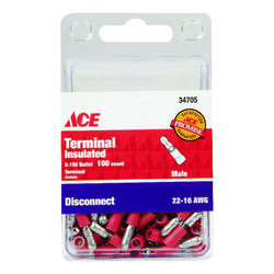 Ace  Insulated Wire  Male Disconnect  Red  100 pk