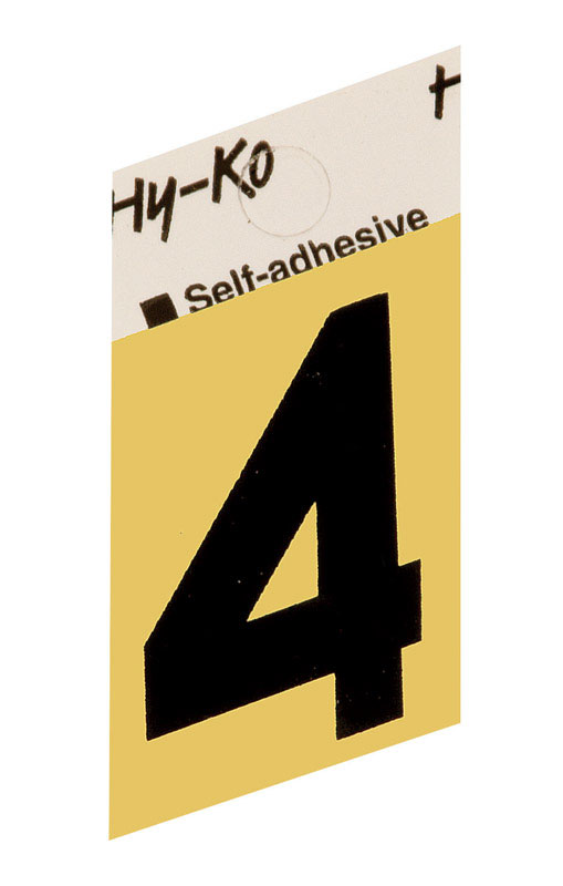 Hy-Ko  1-1/2 in. Aluminum  4  Self-Adhesive  Number  Black