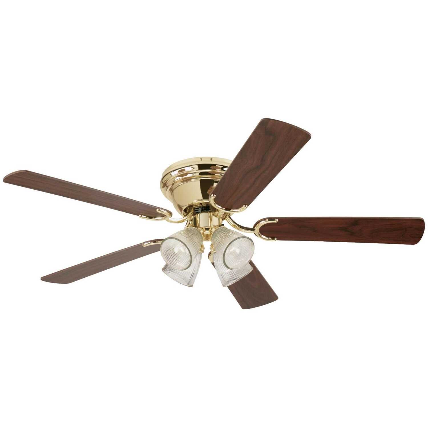 Westinghouse  Contempra IV  21.23  5 blade 52 in. W Polished Brass  Ceiling Fan  Indoor