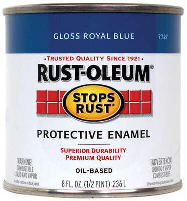 Rust-Oleum  Stops Rust  Gloss  Royal Blue  Oil-Based  Alkyd  Protective Enamel  0.5 pt.