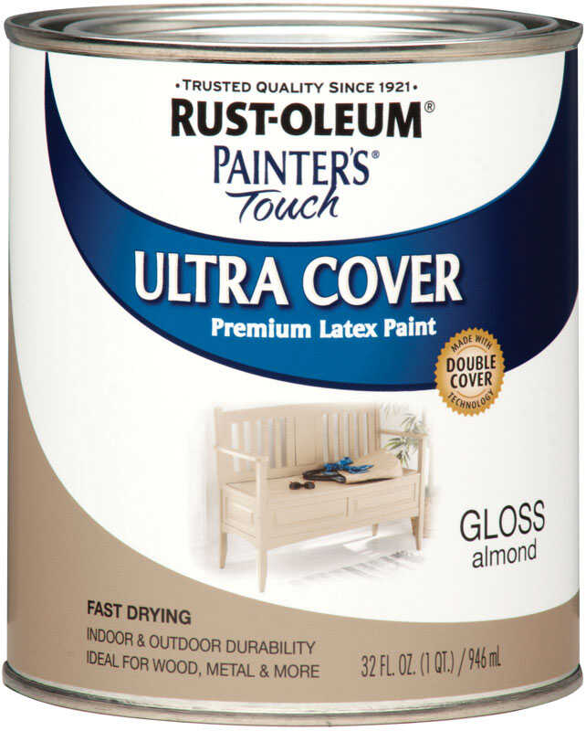 Rust-Oleum  Painters Touch Ultra Cover  Gloss  Indoor and Outdoor  Almond  1 qt. Paint