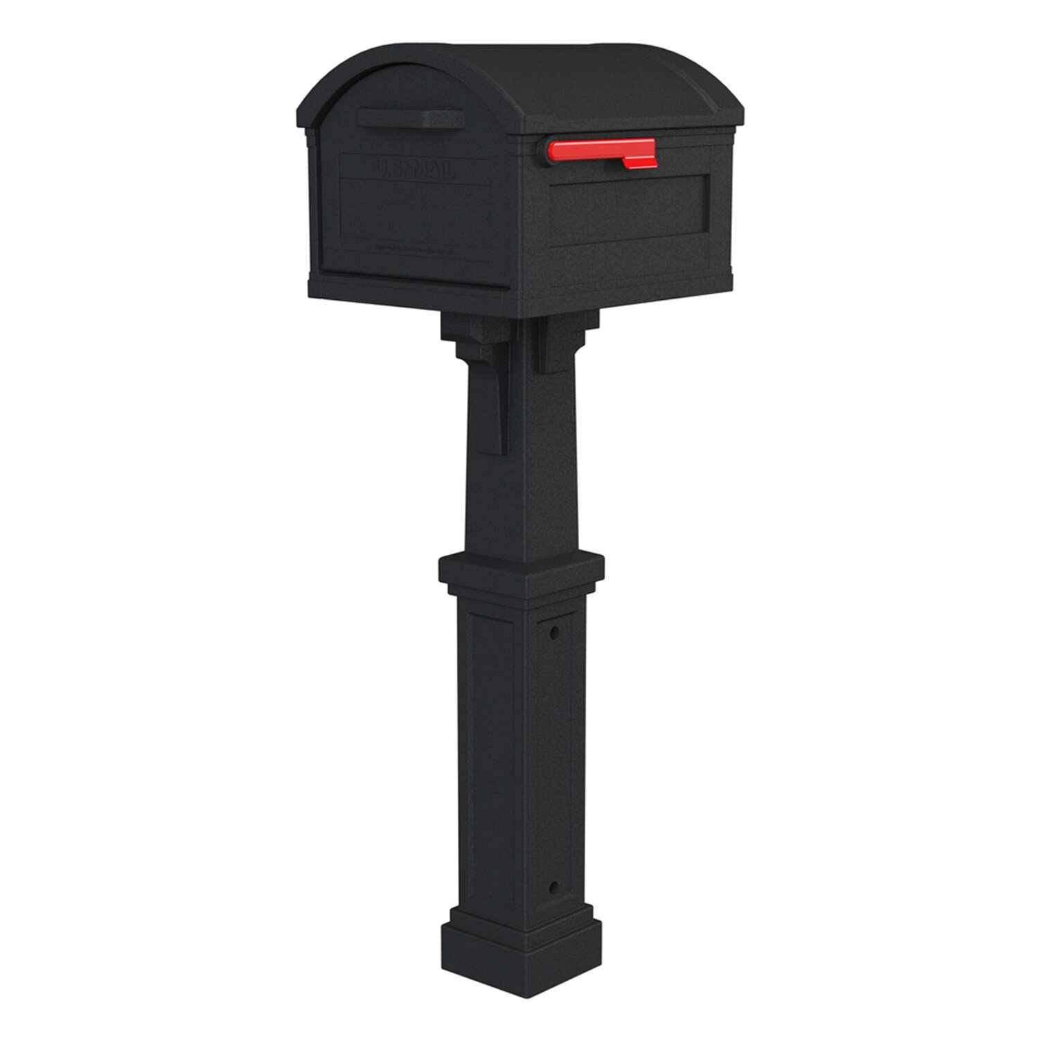 Gibraltar Mailboxes Grand Haven Classic Plastic Post Mount Black Mailbox