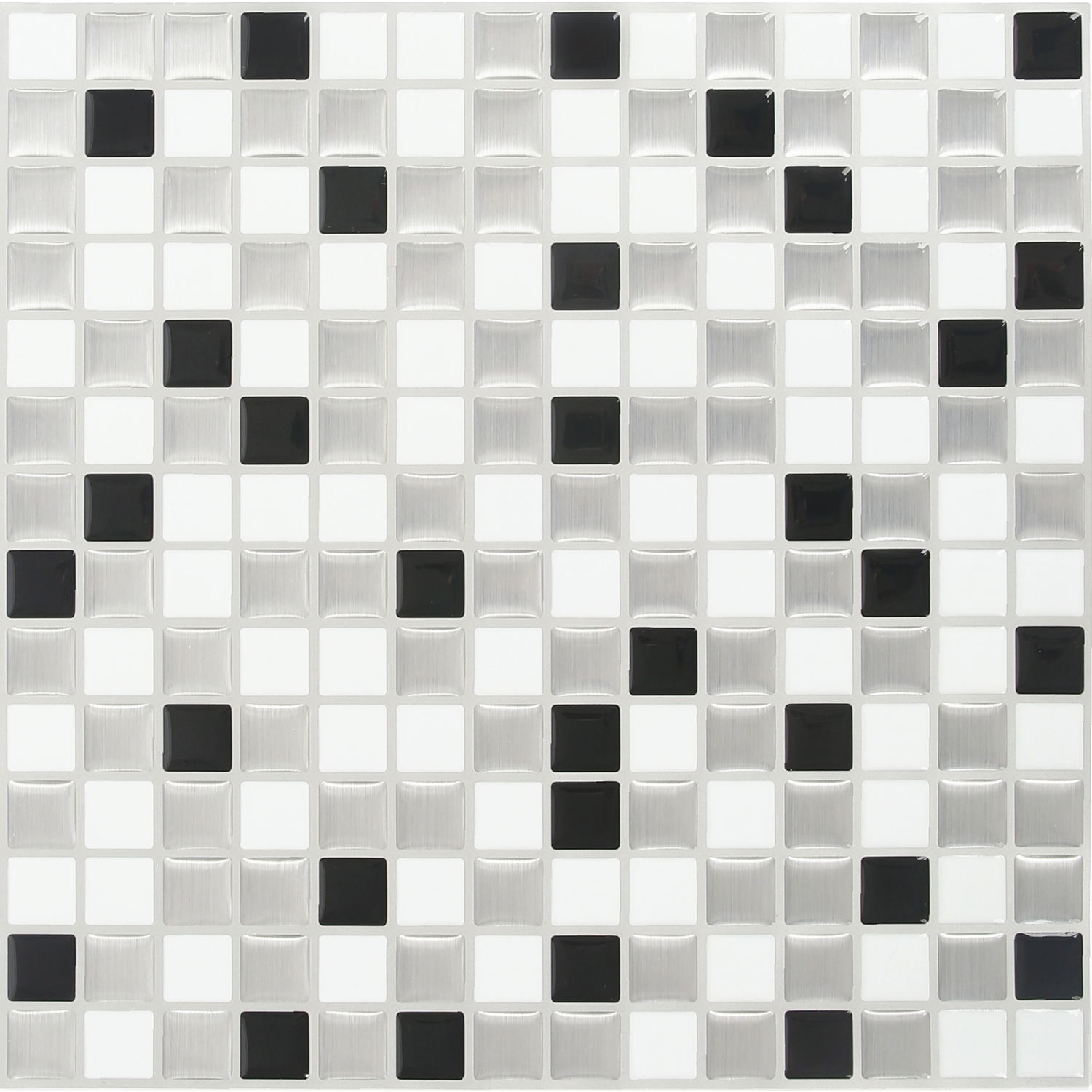 Peel and Impress  10 in. W x 10 in. L Multiple Finish (Mosaic)  Adhesive Wall Tile  4 pk White  Viny