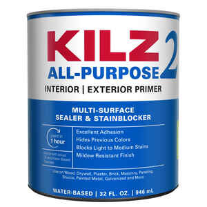Kilz 2  Mildew-Resistant  White  Water-Based  Primer and Sealer  For Brick, Painted Metal, Glossy Su