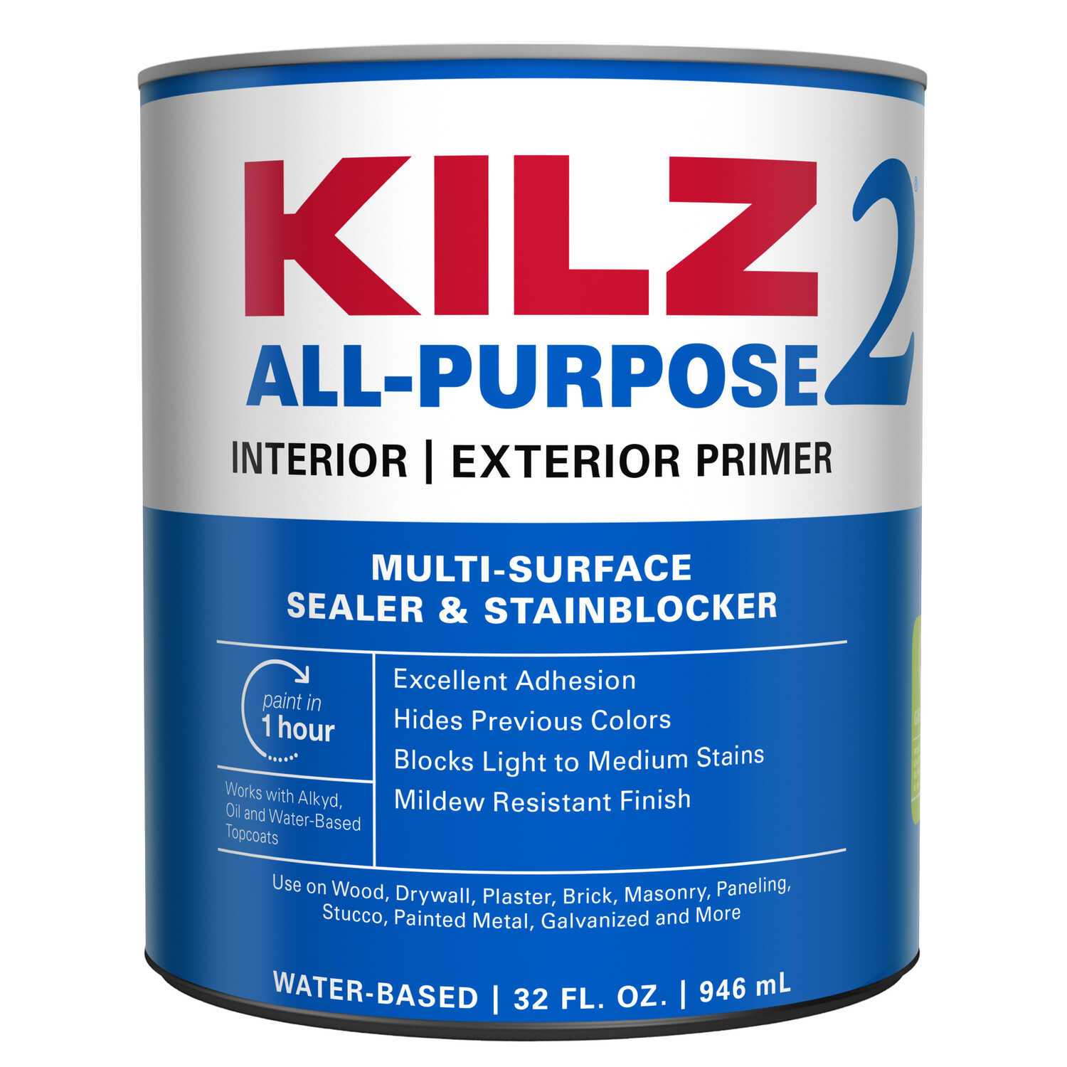 Kilz 2  Mildew-Resistant  White  Water-Based  Primer and Sealer  1 qt. For Brick, Painted Metal, Glo