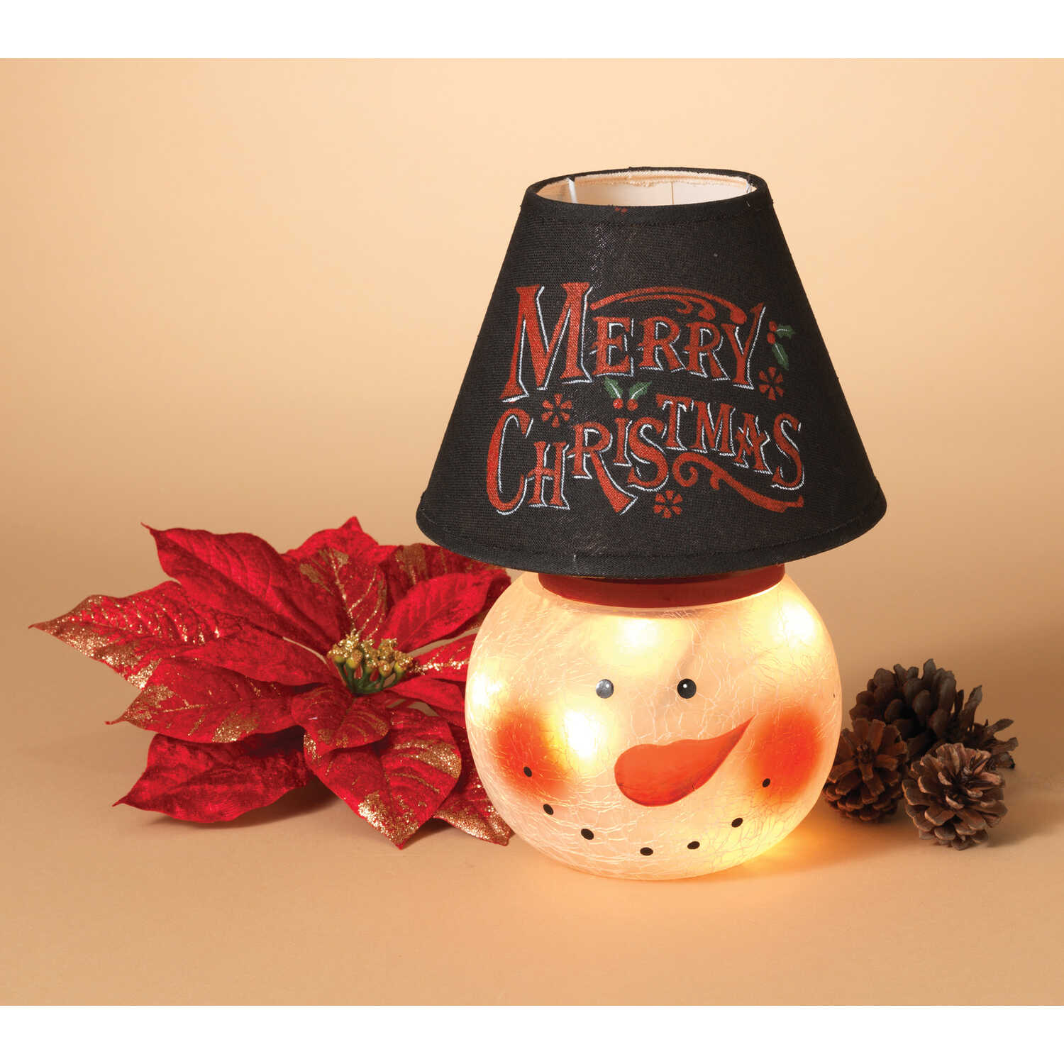 Gerson  Snowman Lamp  Christmas Decoration  White/Black/Red  1 each Glass