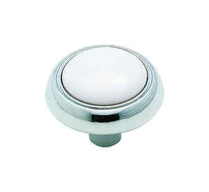 Amerock  Allison  Round  Cabinet Knob  1-3/16 in. Dia. 15/16 in. Polished Chrome  White  1 pk