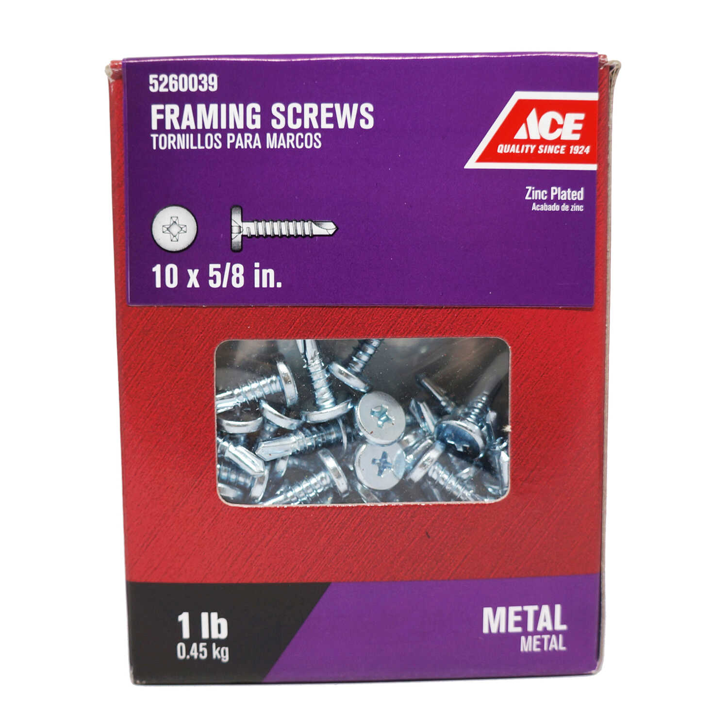 Ace  No. 10   x 5/8 in. L Phillips  Pan Head Zinc-Plated  Steel  Framing Screws  1 lb. 200 pk