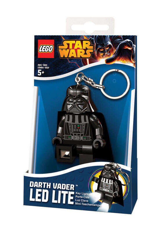 Lego 2 in. Dia. Plastic Black Loop Key Chain w/LED Light