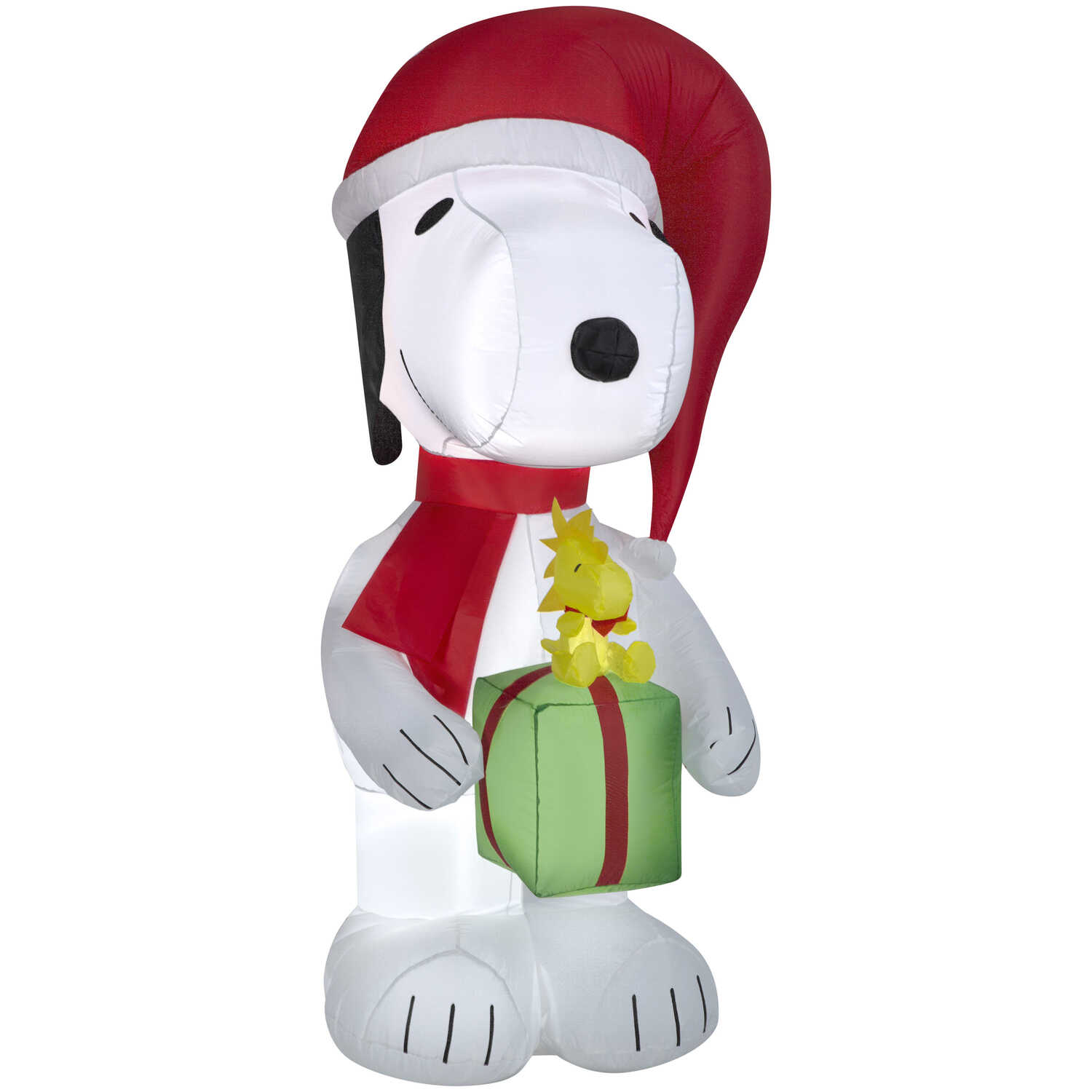 Gemmy  Airblown  Snoopy with Present  Christmas Inflatable  White  Fabric  1 pk