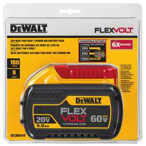 DeWalt  Flexvolt  60 volt 9 amps Lithium-Ion  Battery  1 pc.