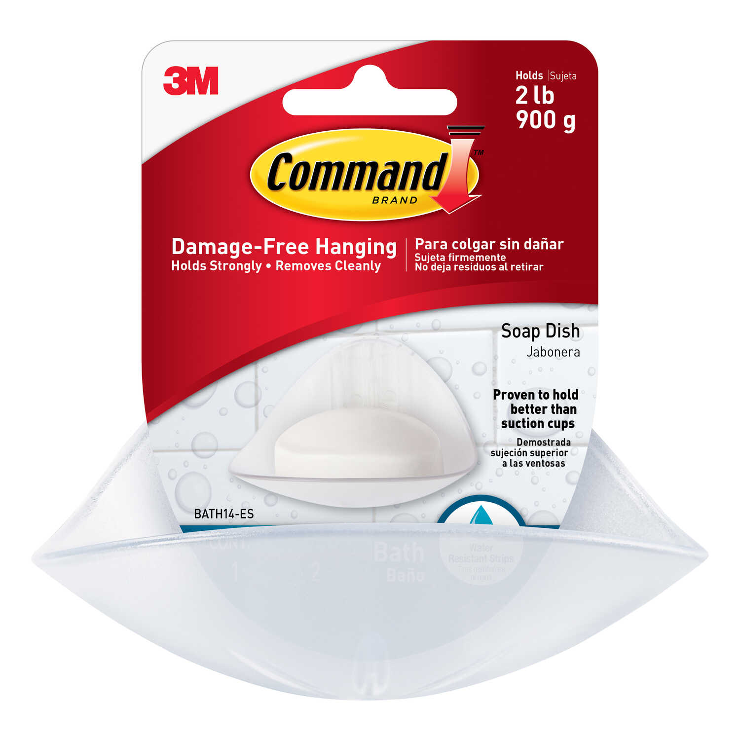 3M  Command  Soap Dish  3.125 in. H x 4.125 inch  W x 4.875 in. L Frost  Clear Frosted  Plastic