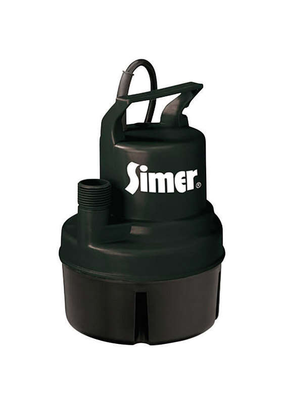 Simer  1/6 hp 900 gph Thermoplastic  Electronic Switch  AC  Utility Pump