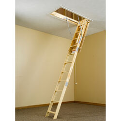 Werner 10.2 ft. H x 22.5 in. W Wood Attic Ladder Type 1 250 lb. capacity