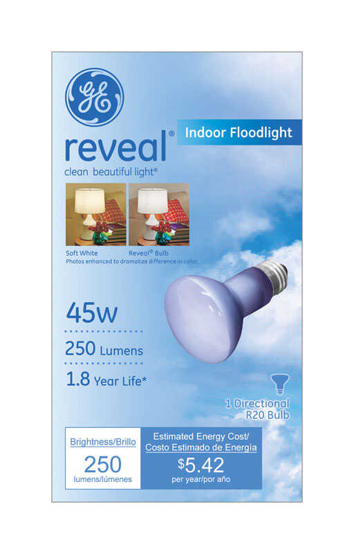 GE Lighting  Reveal  45 watts R20  Incandescent Light Bulb  250 lumens Floodlight  1 pk White (Frost