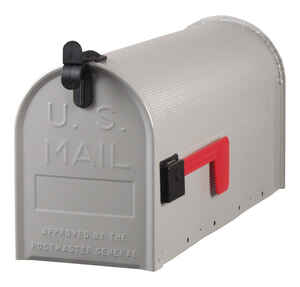 Gibraltar  Standard Ribbed  Galvanized Steel  Post Mounted  Gray  Mailbox  9-1/2 in. H x 6-3/4 in. W