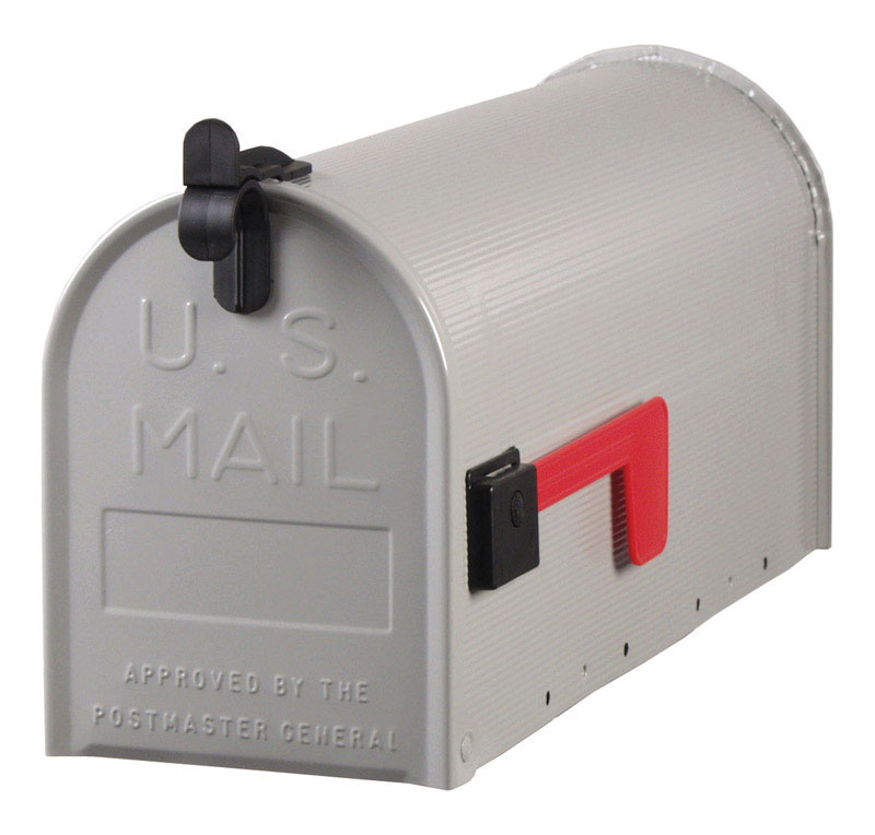 marvelous Ace Hardware Mailbox Post Part - 11: Gibraltar Standard Ribbed Galvanized Steel Post Mounted Gray Mailbox 9-1-2  in.
