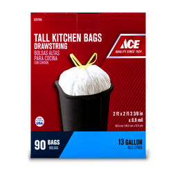 Ace 13 gal. Tall Kitchen Bags Drawstring 90 pk
