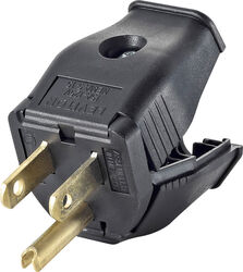 Leviton  Commercial and Residential  Thermoplastic  Ground/Straight Blade  Plug  5-15P  18-12 AWG 2