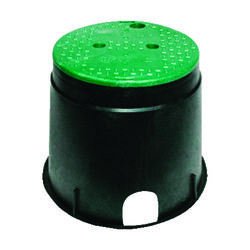 NDS 12-7/8 inch W x 11-5/8 inch H Round Valve Box with Overlapping Cover Black/Green