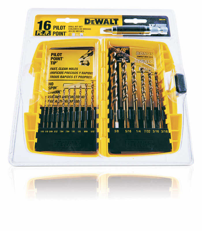 DeWalt  Pilot Point  Ferrous Oxide  Drill Bit Set  16 pc.