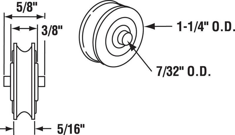 Prime-Line  1-1/4 in. Dia. x 3/8 in. L Steel  Roller Assembly  2 pk