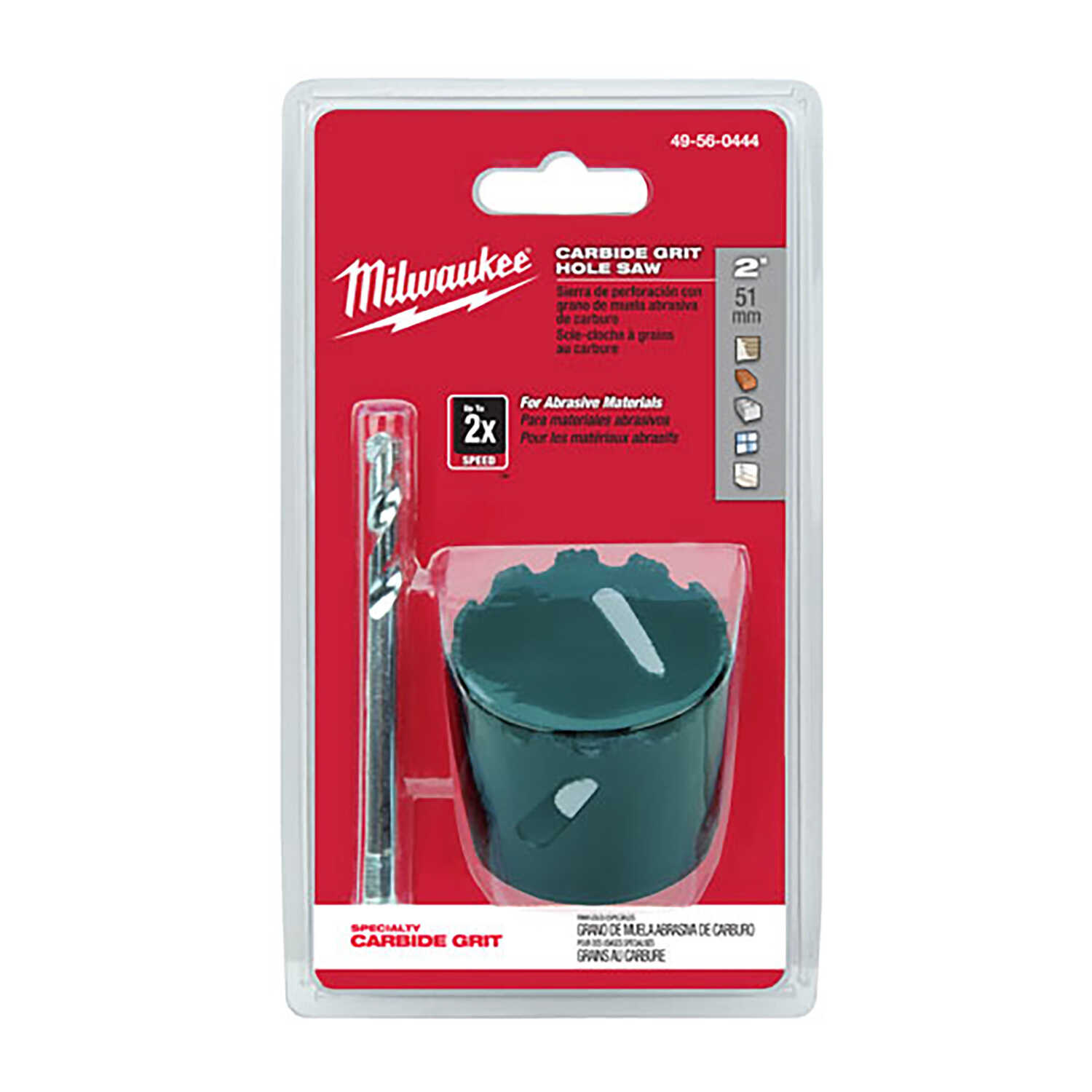 Milwaukee  2 in. Dia. x 1.8 in. L Tungsten Carbide Grit  Hole Saw  1/4 in. 2 pc.