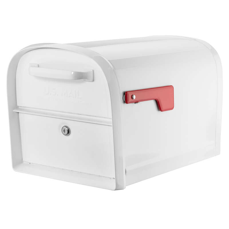 Architectural Mailboxes Oasis Galvanized Steel Post Mount White Mailbox