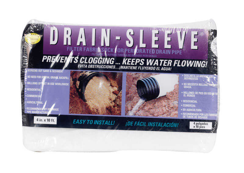 Drain Sleeve  10 ft. L x 5/8 in. Dia. Polyester  Filter Fabric Sock