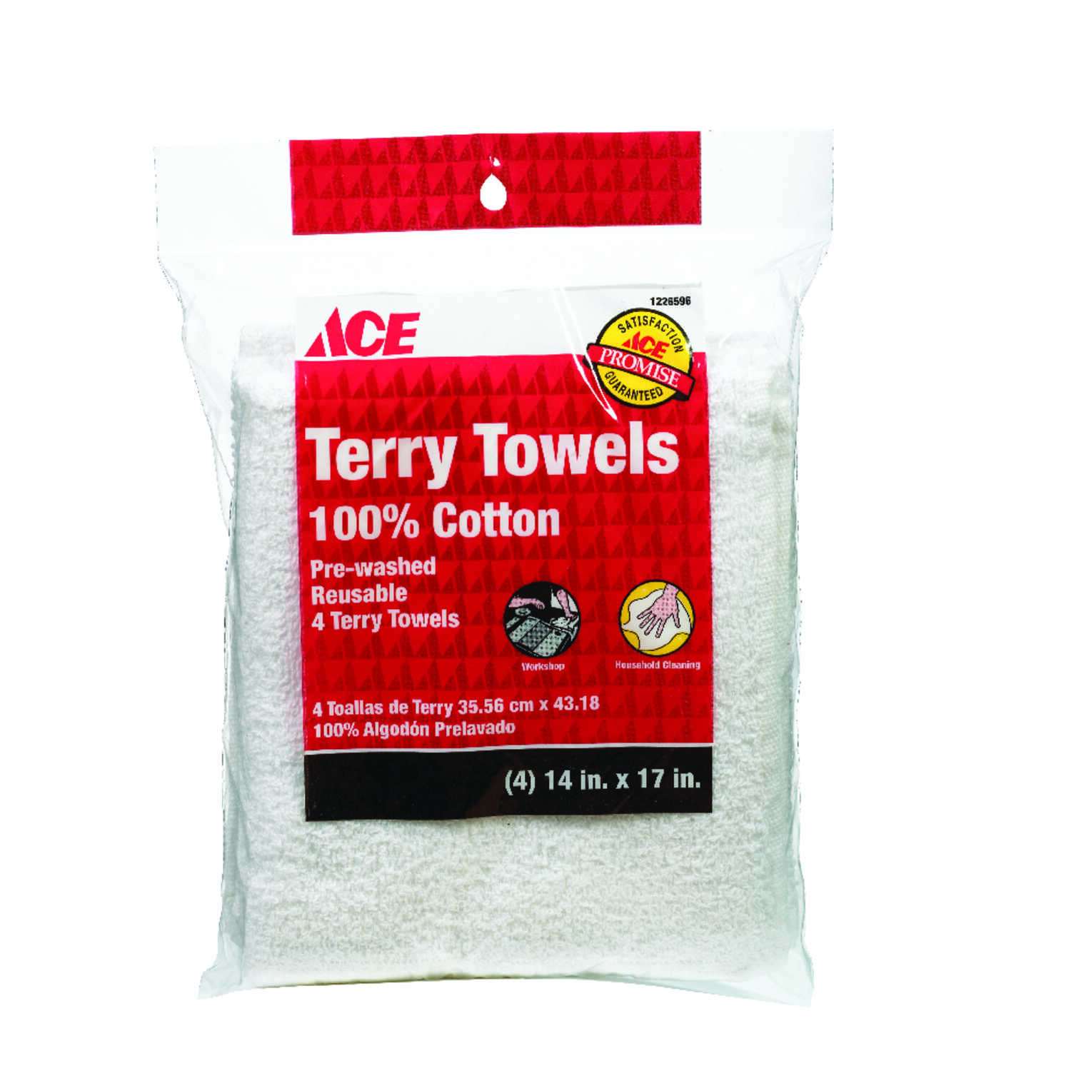 Ace  Cotton Terry  Cleaning Cloth  14 in. W x 17 in. L 4 pk