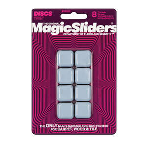 Magic Sliders  Plastic  Floor Slide  Gray  Square  1 in. W x 1 in. L 8 pk Self Adhesive