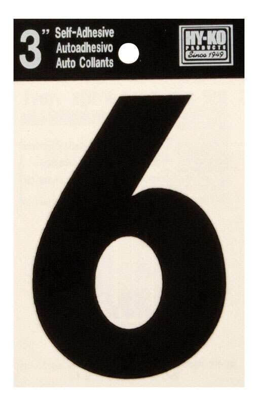 Hy-Ko  3 in. Black  Vinyl  Self-Adhesive  Number  6  1 pc.