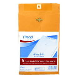Mead  6 in. W x 9 in. L A10  Brown  Envelopes  5 pk