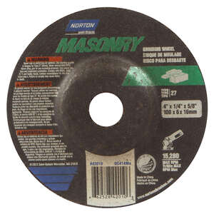 Norton  Masonry  4 in. Dia. x 1/4 in. thick  x 5/8 in.   Silicon Carbide  Grinding Wheel  15280 rpm
