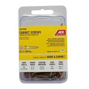 Ace  No. 8   x 1-3/4 in. L Star  Flat Head Yellow Zinc-Plated  Steel  Cabinet Screws  75 pk
