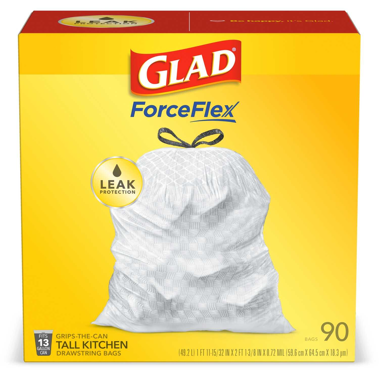 Glad  13 gal. Kitchen Trash Bags  Drawstring  90 pk