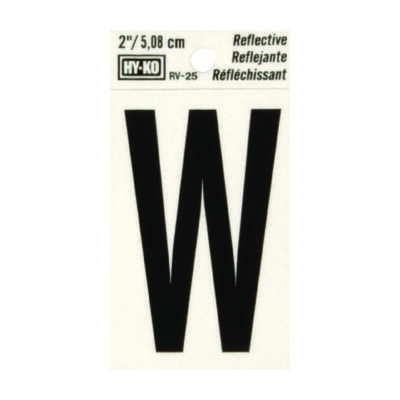 Hy-Ko 2 in. Reflective Black Vinyl Self-Adhesive Letter W 1 pc.