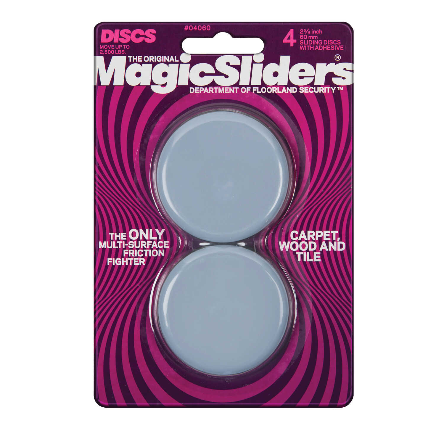 Magic Sliders  Plastic  Floor Slide  Gray  Round  2-3/8 in. W x 2 3/8 in. L 4 pk Self Adhesive