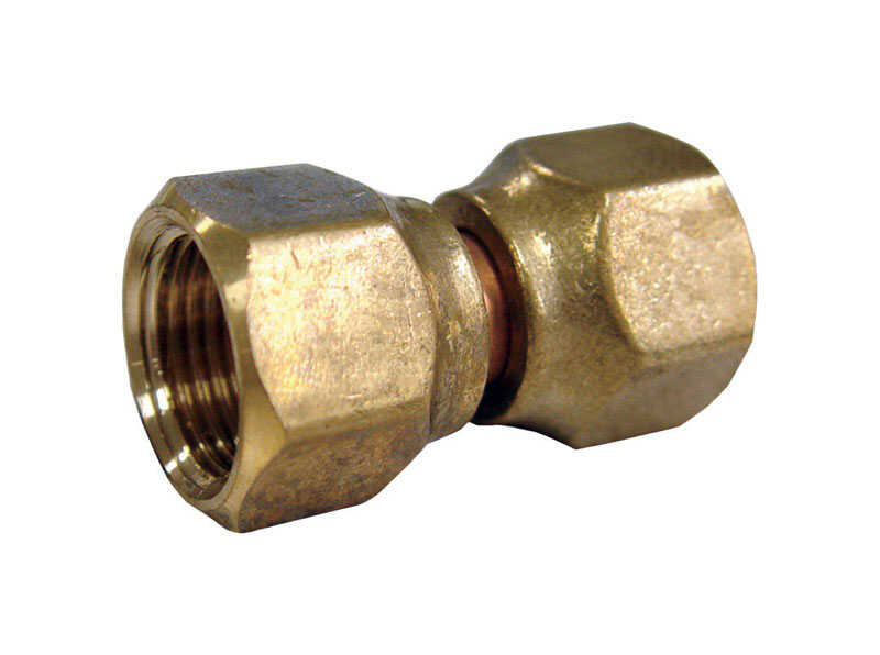 JMF  1/2 in. 3/8 in. Dia. Brass  Swivel Connector