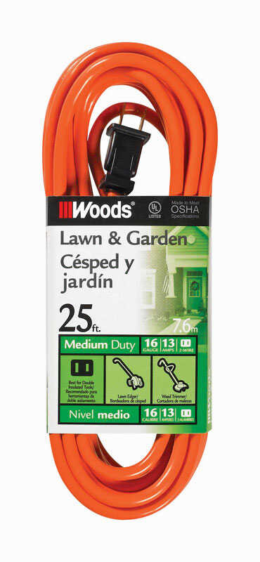 Woods  Outdoor  25 ft. L Orange  Extension Cord  16/2