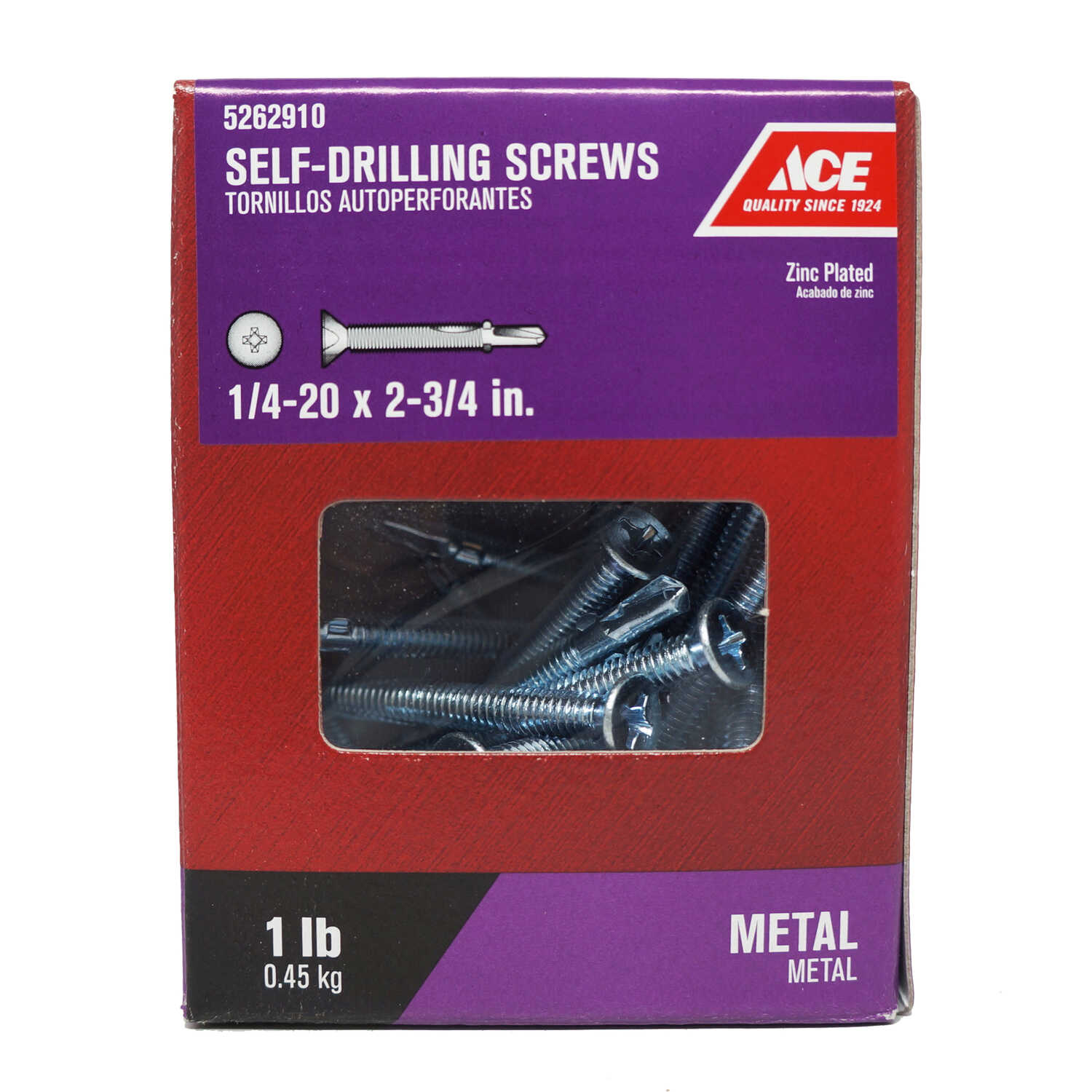 Ace  1/4-20 Sizes  x 2-3/4 in. L Flat Head Zinc-Plated  Zinc  Phillips  Self-Drilling Screws w/Wings