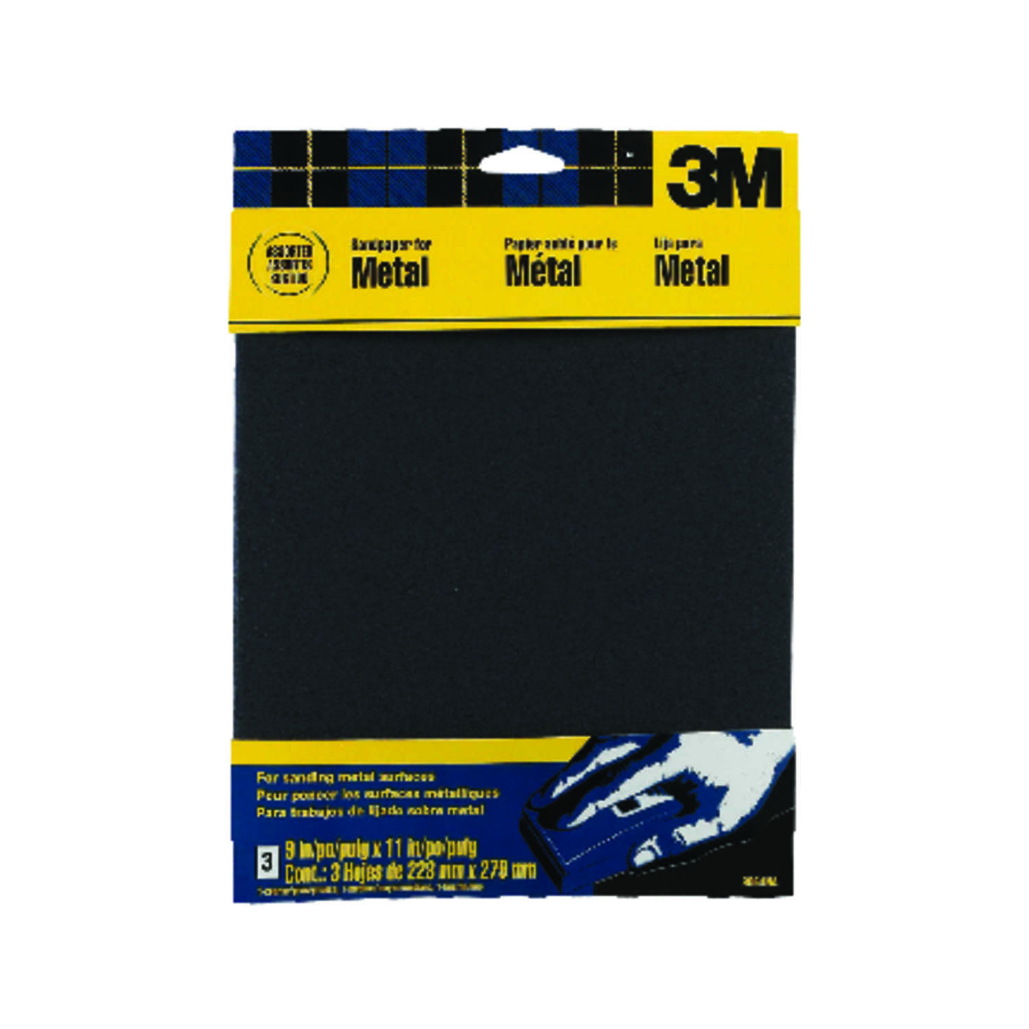 3M  11 in. L x 9 in. W Assorted Grit Assorted  Emery  Sandpaper  3 pk