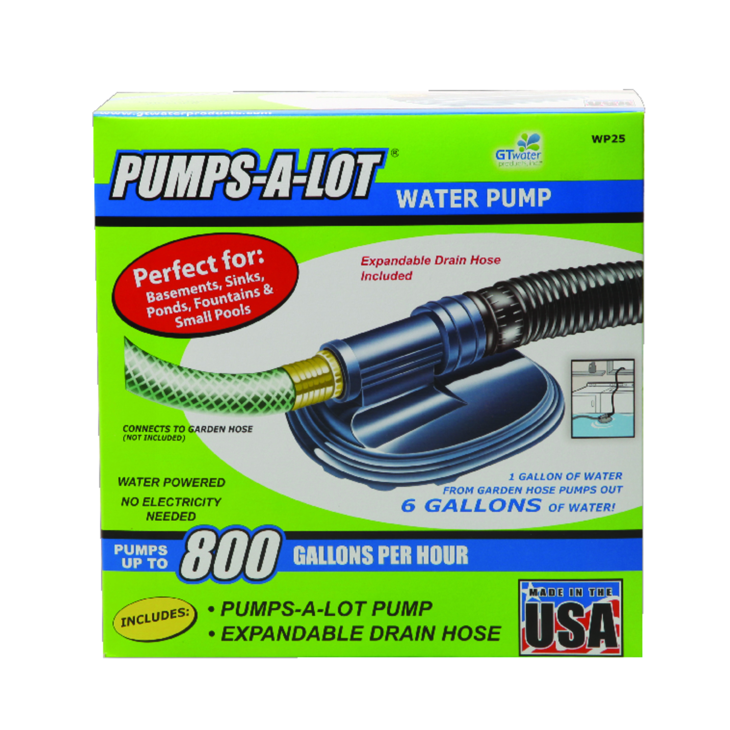 G.T. Water  Pumps-A-Lot  Plastic  Water Pump  800 gph