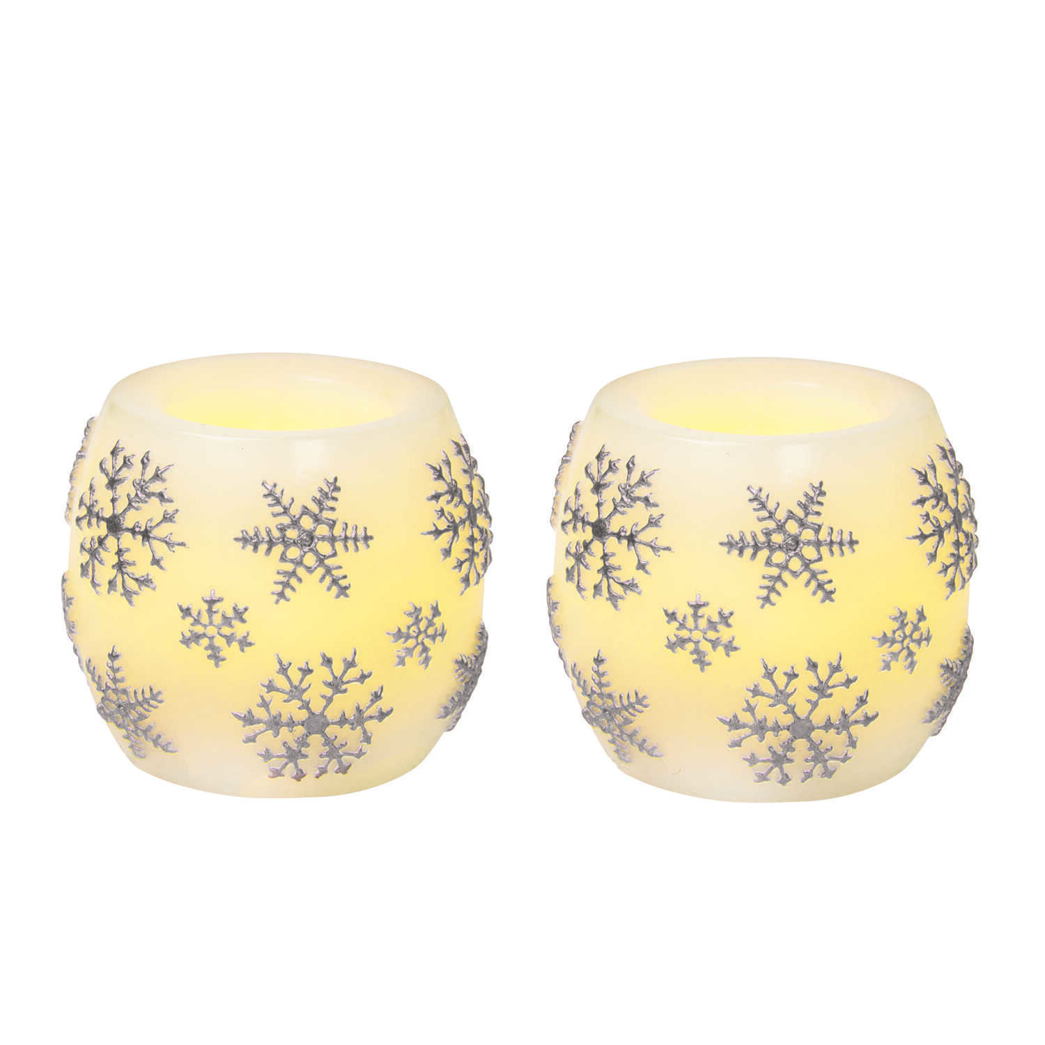 Inglow  No Scent White  Pillar  Holiday Candles  2 in. H