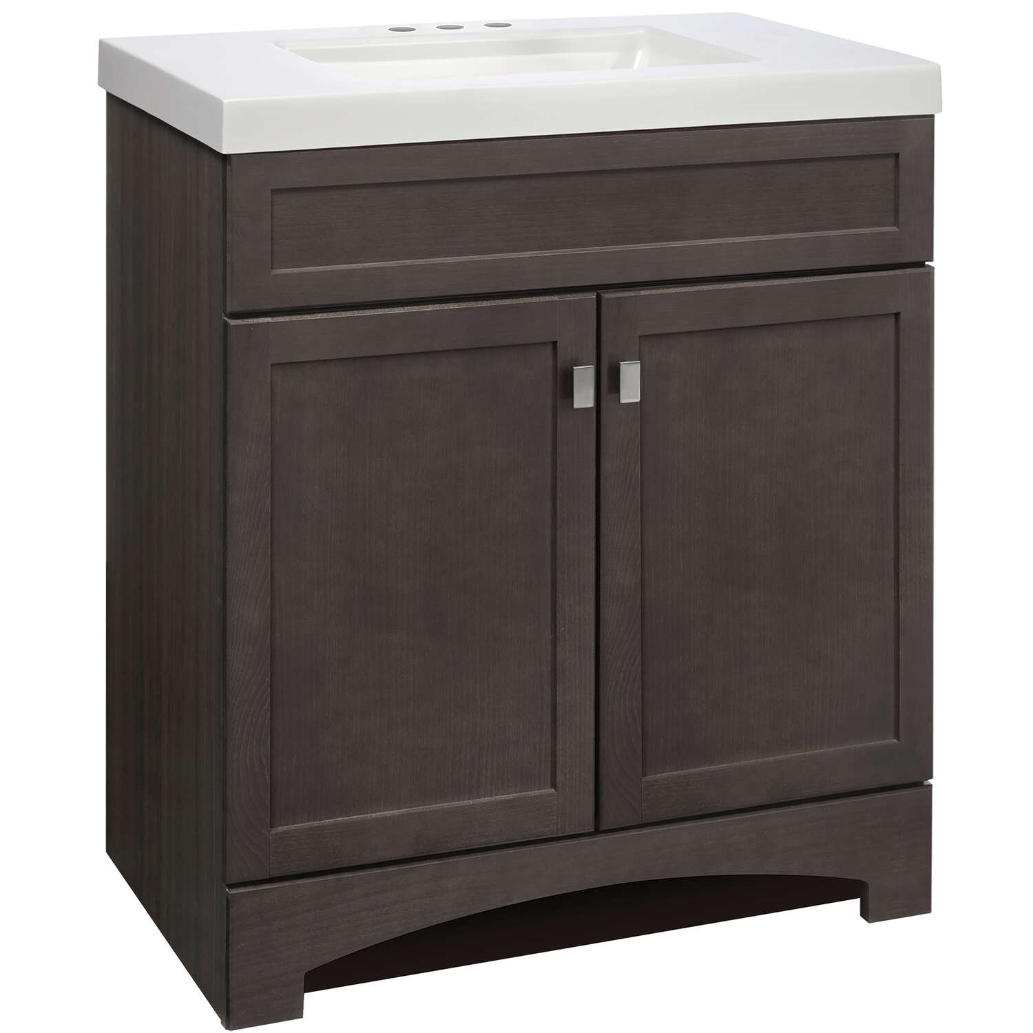 Continental Cabinets  Single  Semi-Gloss  Grey  Vanity Combo  30 in. W x 18 in. D x 33-1/2 in. H